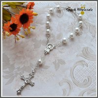 baptism bracelet - 50pcs Religious Gifts Multi Colors Glass Pearl Rosary Bracelet Children s Communion Baby s Baptism Favor Decade White Pearl Mini Rosary