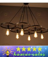 bicycle wheel art - Loft retro Iron light Bicycle Wheels pendant lights Vintage ceiling lamp E27 Vintage Light Bulb ST64 Edison Bulb pendant light Droplight