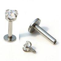 Wholesale 50pcs Labret Star Lip Ring Cubic Zirconia Internally Threaded Prong Gem Tragus Helix Ear Piercing Body Jewelry