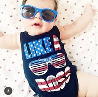 american flag pajamas - 2016 INS hot baby boy toddler American Flag Like A Boss romper onesies diaper covers bloomers Vest tops shirts pajamas PJ S cotton cool