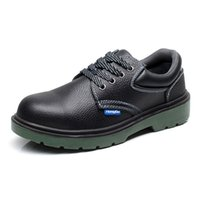 Wholesale Men s PU Work Safety Shoes Protective Boots Smash proof Penetration resistant Steel Toe Black Shoes India Imported Buffalo Leather