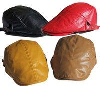 Wholesale Fashion Faux Leather Visor Hat male female hat beret Pu Leather Cap
