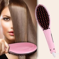Wholesale Factory Price Beautiful Star White Pink Straightening Irons Come With LED Display Electric Straight Hair Comb Brush US EU Plug X