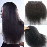 African American Afro Kinky Clip recto en extensiones de cabello 7 piezas Peruvian cabello humano Full Head Natural Negro