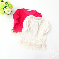 baby girl white sweater - Babies Knit Lace Sweaters Kids Girl Hallow out Jumper Pullover Baby Girl Autumn Christmas clothing girl clothes