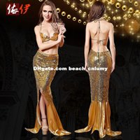 Wholesale DHL free new arrival gold sequin mermaid halloween costumes for women two piece sexy mermaid cosplay costumes holloween descendants