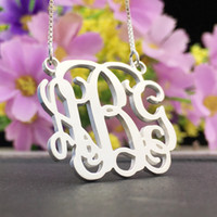 Wholesale Silver Monogram Necklace Initial Monogram Necklace Personalized Monogram Sterling silver Custom Name Necklace Birthday gift for everyone