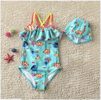 Wholesale 2016 New Fashion Girl Finding Nemo Dory Swimsuit Kids Cartoon Summer Sun resistant Swimwear One Pieces Children Swimming Wear With Swim Caps
