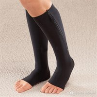 Wholesale Zip Sox Zip Up Zippered Compression Knee Socks Supports Stockings Leg Open Toe Hot Shaper Black and Beige by DHL pairs