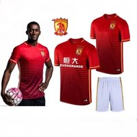 Wholesale 2016 Summer China New Guangzhou EVERGRANDE GROUF Football Sports Suits Soccer Best Quality Outdoor RED Football Uniforms Sets