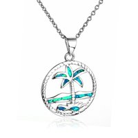 Loose Beads beach silver jewelry - Opal Pendant Coconut Palm Tree Charm Beach Sterling Silver Fit Pandora Style Bracelets For Women Jewelry No50 lw FP504