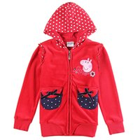 Wholesale 2016 New Autumn Hot Sale Fashionable Girls Children Solid Red Long sleeved Hooded Zipper Coat Five Kinds