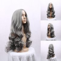 Wholesale New brand Hot Synthetic hair beautiful women s silver gray long curly fibre hair cosplay wig mac makeup salomon popular