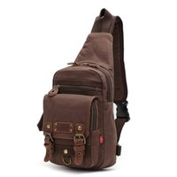 Wholesale Unisex Multi functional Rugged Canvas Leather Single shoulder Chest Pack Retro Vintage Male Students School Bags Daypack for Hiking Running