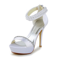 Wholesale Super High Heel cm Ivory color Handmade Simple Style Women Bridal Wedding Shoes From Euro size