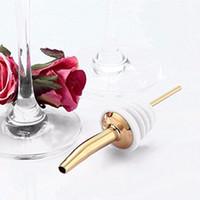 Wholesale 1Pcs Hot Sale Liquor Spirit Pourer Stopper Stainless Steel Flow Wine Bottle Pour Spout Stopper Barware gold white