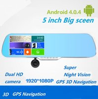 Cheap 5 inch Android OS Car Mirror GPS Navigation Car DVR WIFI HD 1080P Digital Video Recorder Rear View Camera A23 8GB touch screen histrade