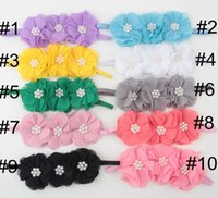 50 Orange 1 Infant Baby Girl Hairbands Princess Pearl Chiffon Flower Hairband Baby Hair Accessories, Acessorios Para Cabelo Baby Head Band