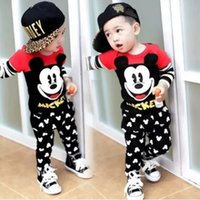 sport clothing wholesale - 2016 Baby Casual Suit Children Autumn Sports Boys Girls Mickey Long sleeve Clothes Set Tops Pants Kids Clothing