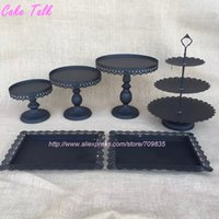 bakeware suppliers - Black cake stand set of pieces cupcake stand cake barware decorating cooking tools bakeware set dinnerware party supplier