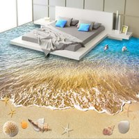 bathroom vinyl flooring - 3D Beach wallpaper Custom Floor Wallpaper D Stereoscopic Dolphin Ocean Bathroom Floor Mural PVC Wallpaper Self adhesive Floor Wallpaper