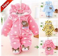 Wholesale Newborn Baby Girls Clothing Coral Fleece Winter Boy Rompers Cartoon Infant Clothes Meninas Bear Down Snowsuit Babies Jumpsuits