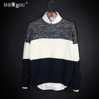 Wholesale men striped sweater qiu dong men Han edition of the new leisure knit collar men s black and white coat