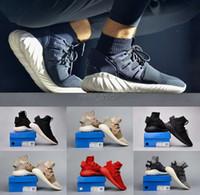 Wholesale 2016 New Arrivals Mens Running Shoes Black Red Fashion Boots KITH X Consortium Tubular Doom PK city sock Outdoor Sport Sneakers Eur