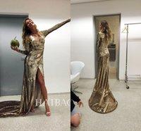 Wholesale 2017 Gisele Bündchen Gold Blingbling Celebrity Dresses V neck Long Sleeves Ruched Fitted High Split Sweep Train Mermaid Prom Evening Dresses