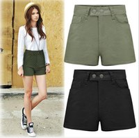 Wholesale Plus Size Europe Fashion Summer Women s Jeans Cotton Shorts High Waist Lady s Casual Elastic Slim Shorts Black Army green