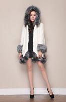 Wholesale Hot sale brand new black white women faux fox fur collar wool long coat jacket parkas trench outwear hoody plus size S XL