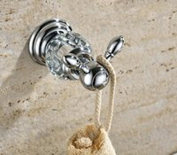 Wholesale luxury crystal brass chrome robe hook bathroom hangings chrome towel rack clothes hook GY001