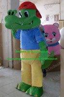 alligator t shirt - Smart Green Crocodile Alligator Mascot Costume Cartoon Character Mascotte Adult Big Eyes Dentes Canini Blue T shirt ZZ284 FS