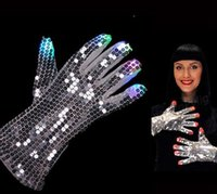 Wholesale LED Light Up Rave Silver Sequin Gloves Color Changing LED Flashing Gloves Colorful Light Flash Finger Glove Christmas Halloween New Year DHL
