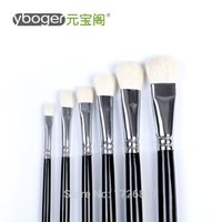 art long artist - 6 Long handle round wool brushes painting supplies watercolor Gouache paint brush for artist drawing art pen188