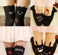 Wholesale female lovely stockings totoro kitty cat devil stars hearts bowknots fake tatto pantyhose sexy thigh socks