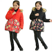 Wholesale Girl Winter Parkas Children Clothing Baby Outerwear Hoody Winter Jackets for Girls Flower Thick Kids Parkas