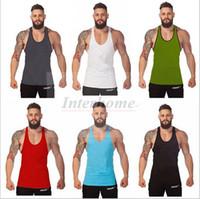 Wholesale Mens Gym Singlets Sports Vest Fitness Bodybuilding Tanks Men s Y Back Tank Tops Men Cotton Gym Stringer Tank Shirts Sports Clothes B631