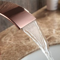 Wholesale Fashion style high quality rose gold waterfall bathroom basin faucet deck mounted single handle wash basin mixer tap
