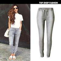 Wholesale The new arrival europe and the United States women s leisure pants size gray stretch jogging cowboy Haren casual pants elastic trousers