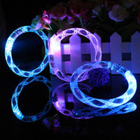 Wholesale LED bracelet light up flashing Glowing bracelet Blinking Crystal bracelet Party Disco Christmas Gift statement