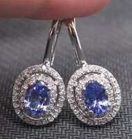 Wholesale 2 CT SOLID K WHITE GOLD NATURAL BLUE TANZANITE DIAMOND EARRING