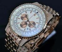 Precio de Esfera blanca para hombre de los relojes automáticos-Lujo 44mm mecánico automático Navitimer cronómetro limitado Blanco Dial hombres reloj de acero inoxidable Relojes de pulsera hombres