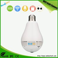 Wholesale IP WIFI Fisheye Bulb Light camera in P MP with mm lens full degree angel Security camera