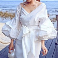acrylic shorts - Women Fashion White Ruffles Blouse V Neck Ladies Elegant Tops Clothing Shirts Tops Female Clothes Blouses Shirt with Bow Tie