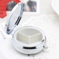 Wholesale 3 Compartments Metal Pill boxes DIY Medicine Organizer container silver