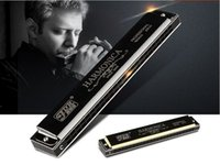 Wholesale German import holes tremolo C tone harmonica Children s adult beginner instrument mouth organ colors black gold silver