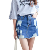 Wholesale Sexy Jeans Skirts - Summer 2017 Women Denim Skirt Jeans Short High Waist Mini Skirt Sexy Ripped Jeans Skirts Ladies Slim Pencil Bodycon Denim Skirts