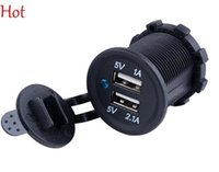 Micro-USB  auto power outlet - Pop Universal Waterproof Car Charger Auto Duel USB Motorcycles Charger port Outlet A A Panel Mount Car Power Inverter V SV112138