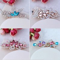 Wholesale 10pcs Korea Vintage Women Elegant Turquoise Imperial crown Hairpins Hair Barrette Clip Crystal Hair Claw clip Hair Accessories